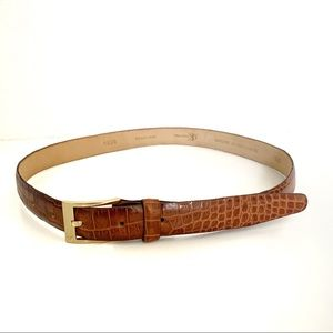 Calvin Klein Italian Alligator Calfskin Brown Belt